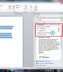 cara translate dokumen di microsoft word