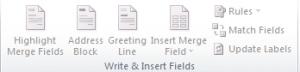 fungsi grup write & insert fields pada tab maillings