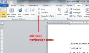 cara menampilkan navigation di ms word 2010