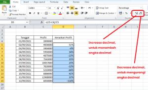 increase dan decrease decimal
